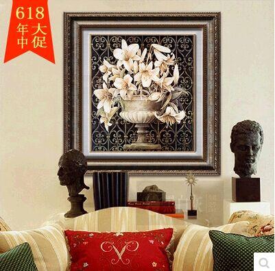 高档美式欧式客厅装饰画油画三联组合壁画