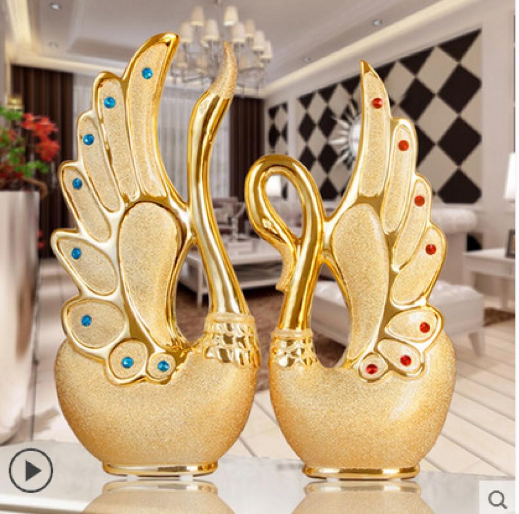 陶瓷工艺品创意天鹅摆件