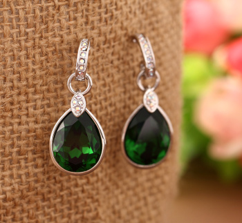 925 Sterling Silver Emerald retro elements with SWAROVSKI Crystal Earrings Jewelry