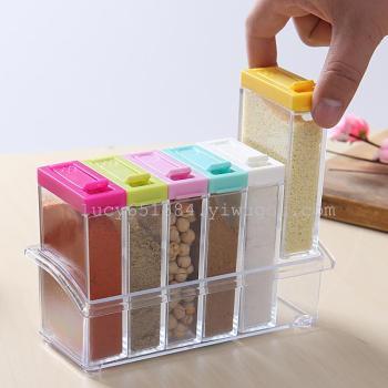 Fashion creative home seasoning box set of six pieces of colorful dressing set