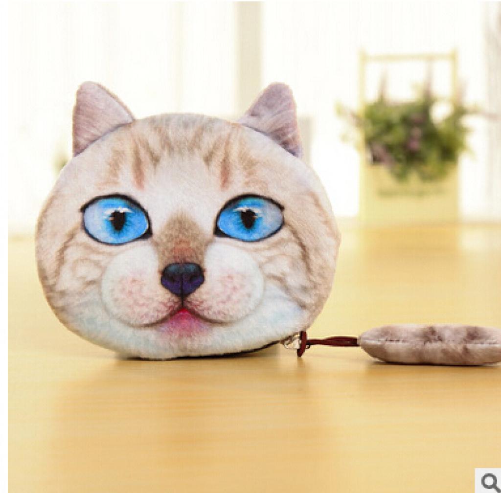 3d猫脸狗脸表情尾巴喵星人零钱包硬币包卡通可爱创意