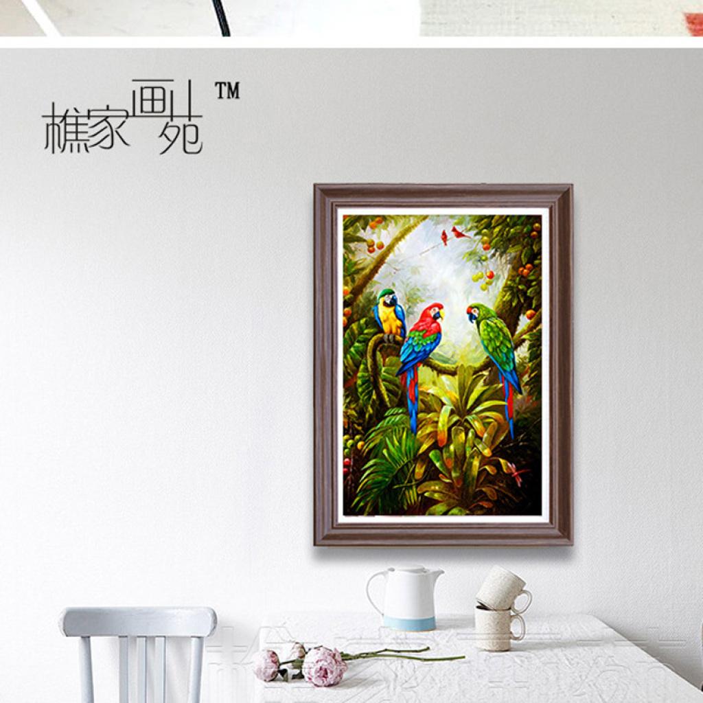 吉祥鸟美式挂画酒店壁画鹦鹉油画玄关墙画别墅欧式客厅装饰画三联