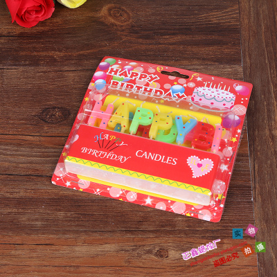 Supply English Color Dot Letter Birthday Cake Candle Party Supplies