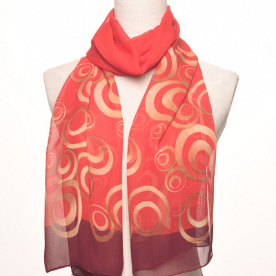 Women's silk scarf spring and autumn summer thin chiffon beach sun protection shawl long scarf.
