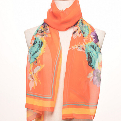 Chiffon long silk scarves floral print striped scarf with a shawl in summer.