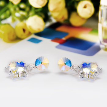 925 Sterling Silver Genuine imported Austria flower Edelweiss Crystal Earrings