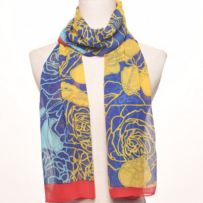 The women's new flowers, The long chiffon silk scarf, han version of The color sun protection shawl.