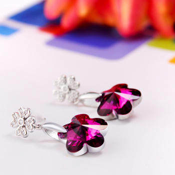 925 Sterling Silver with SWAROVSKI elements plum Crystal Earrings