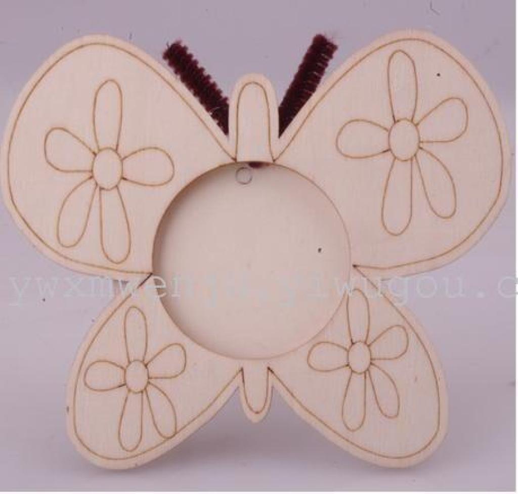 木制木质 白坯本色蝴蝶相框 手绘涂鸦彩泥diy创意 儿童玩具