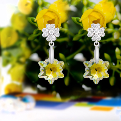 Austria imported 925 Sterling Silver Genuine Edelweiss Crystal Earrings