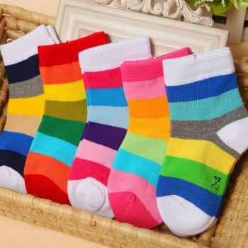 Children's cartoon rainbow fringe Rainbow Stripe baby socks cotton socks