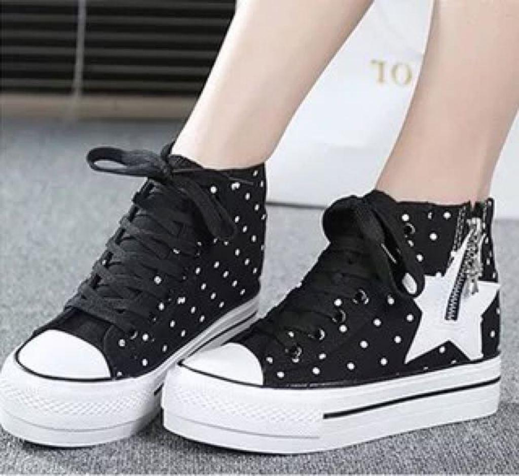 高幫帆布鞋鞋帶系法_高幫帆布鞋鞋帶綁法_高幫鞋帶圖片