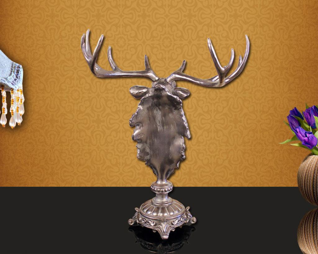 家居摆设欧式创意树脂工艺品 书房复古装饰品法式鹿头