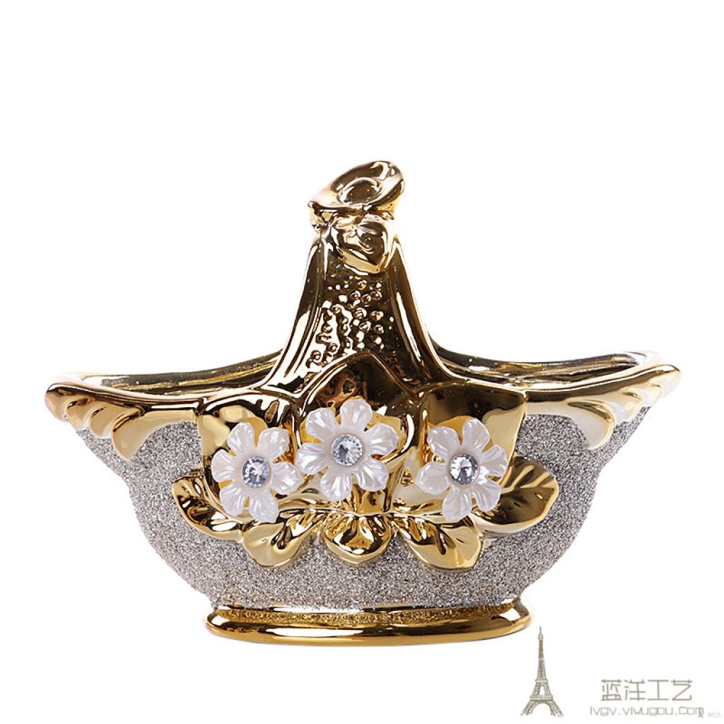 欧式陶瓷花瓶三件套 花篮花瓶摆件客厅创意插花花器