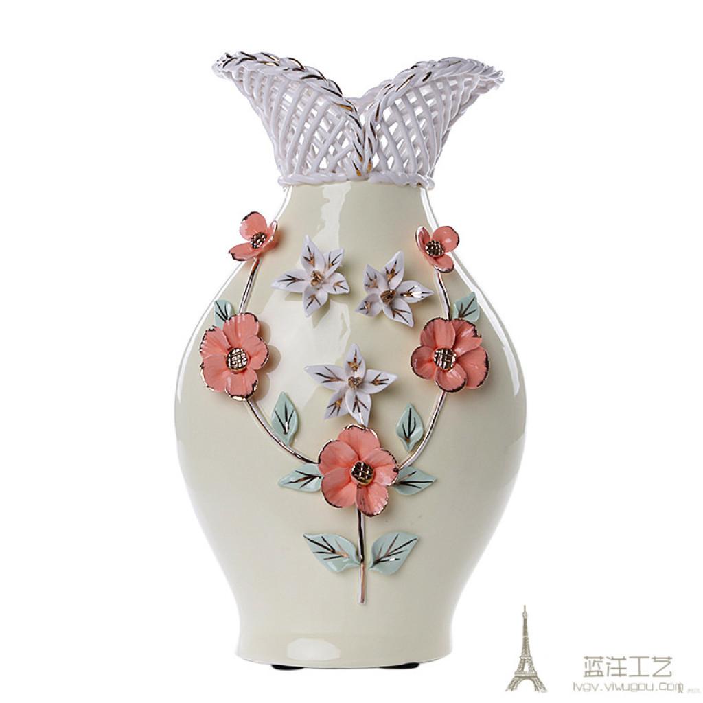 欧式陶瓷插花瓶 简约现代居家摆件米色花瓶