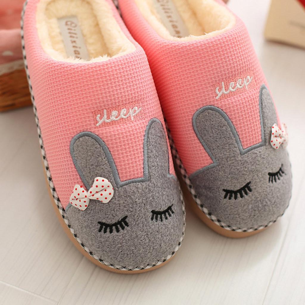 冬季棉拖鞋家居家室内卡通可爱情侣男女保暖毛托鞋
