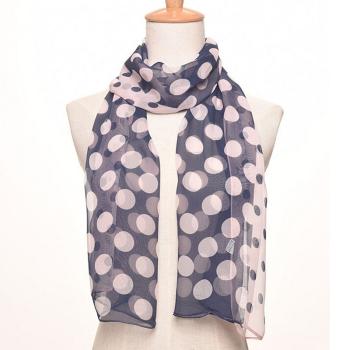 春夏新款雪紡點式長絲巾圓點圍巾女士防曬披紗巾