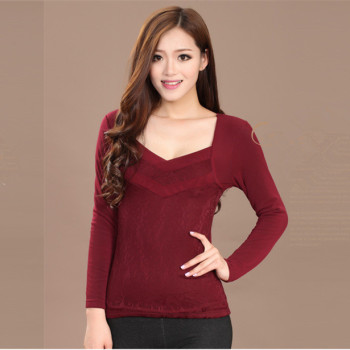 The winter with cashmere thermal underwear 835 long sleeved body super soft warm coat piece