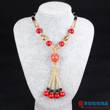 Glass necklace fashion Bohemia autumn and winter style national wind sweater chain