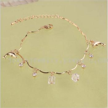 The new arrival chain bell short stick Crystal Dolphin Pendant Bracelet