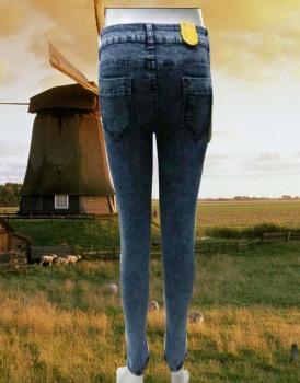 2015 new women's waist jeans girl slim slim stretch pencil pants