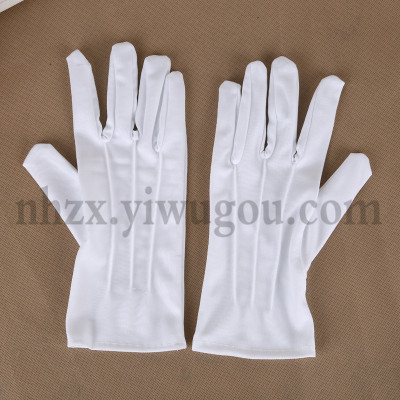 Polyester three bar gloves parade white gloves gloves working D-02