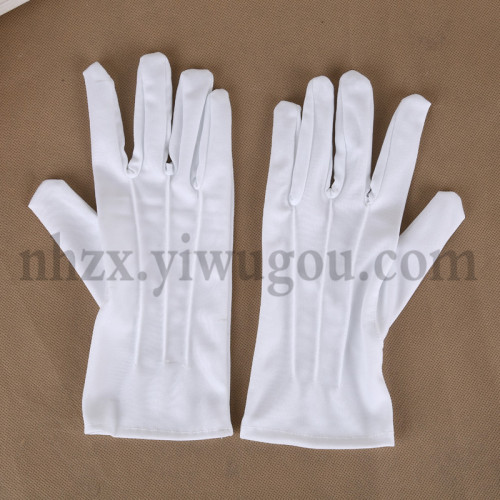 Polyester three bar gloves parade white gloves gloves working D-02