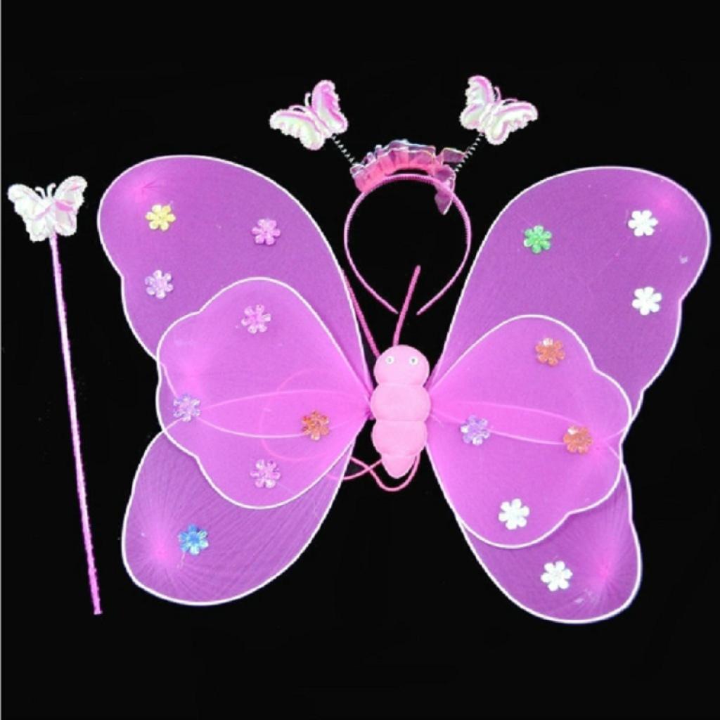 仙女裙可爱公主天使蝴蝶翅膀双层翅膀3件套