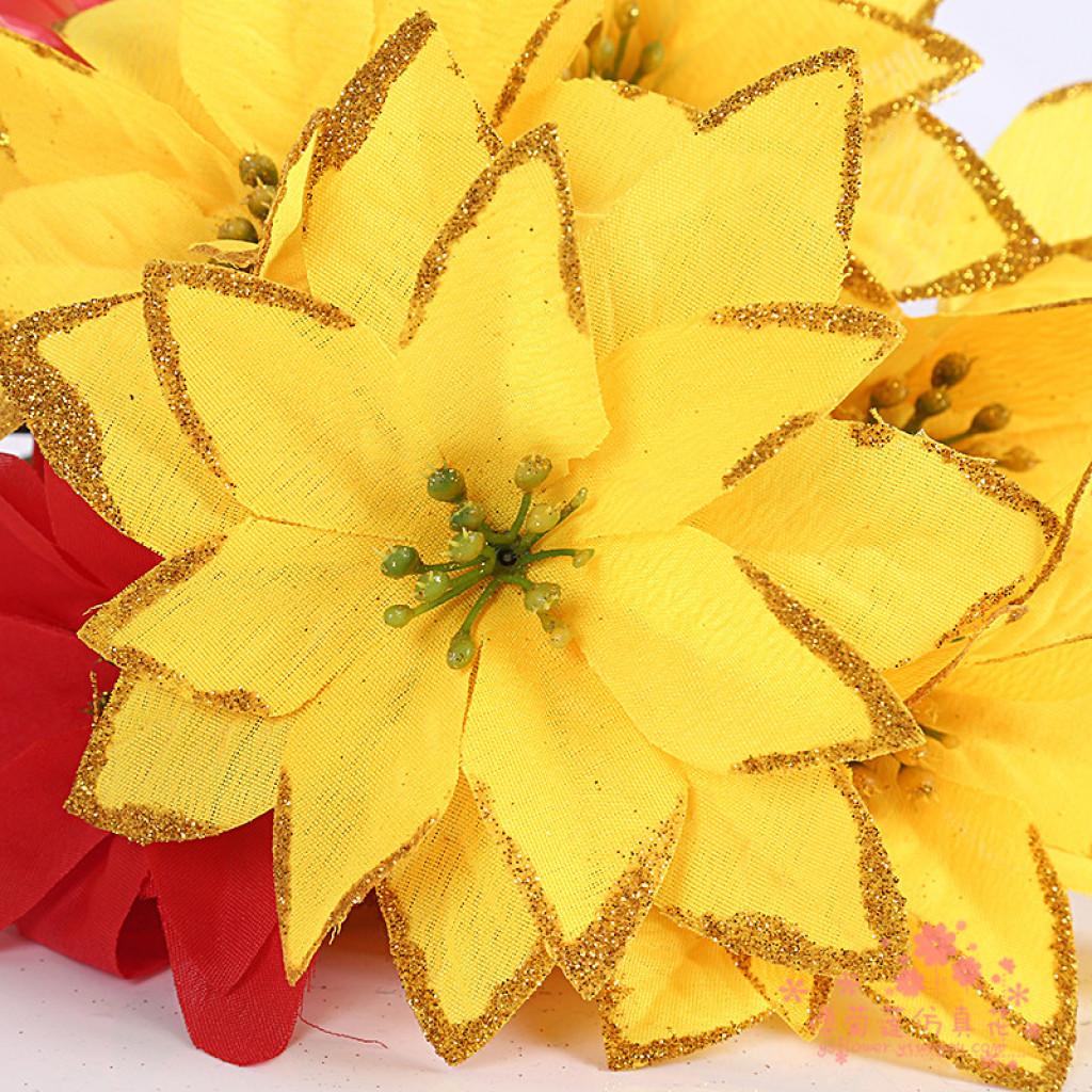 金色高档烫金边圣诞花圣诞树装饰花束花艺插花