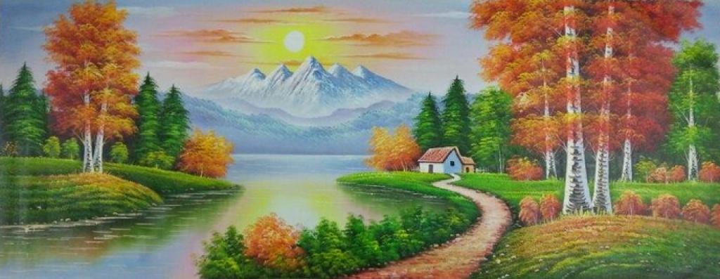 全手绘风景油画,家居客厅装饰画70x180