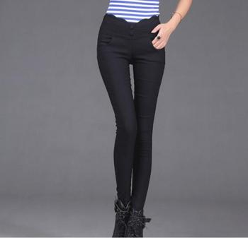 The new color pencil pants Leggings button stretch pants feet tall Korean show