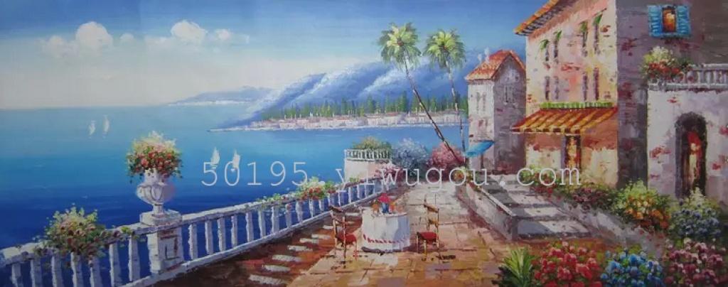 全手绘油画,客厅沙发背景挂画地中海70x180