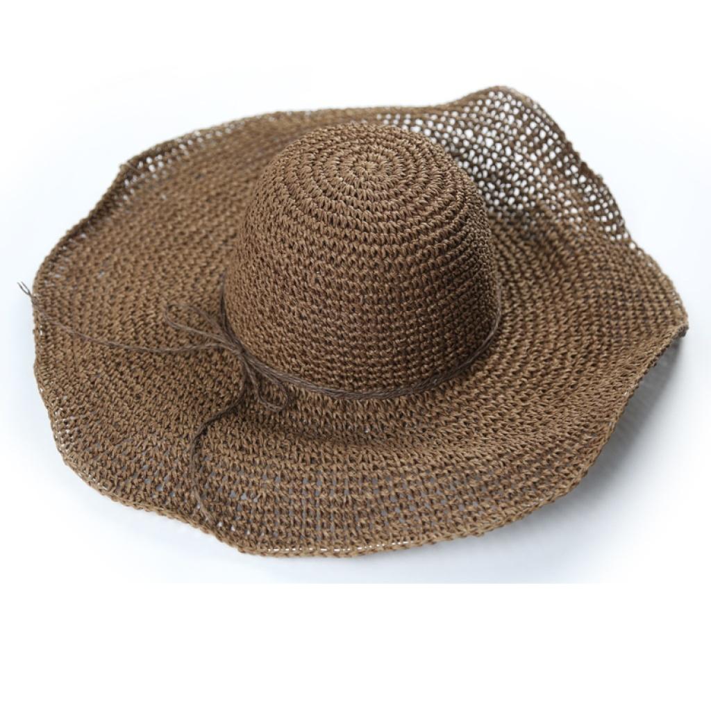 大檐手工编织钩针草帽遮阳帽 波浪系绳沙滩太阳帽子a155