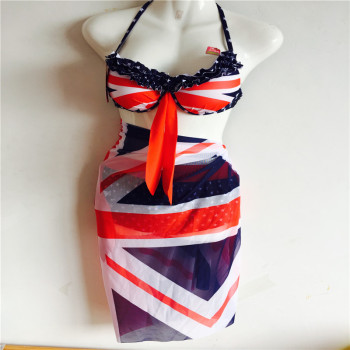 Romantic British flag steel support three piece 1615 swimsuit