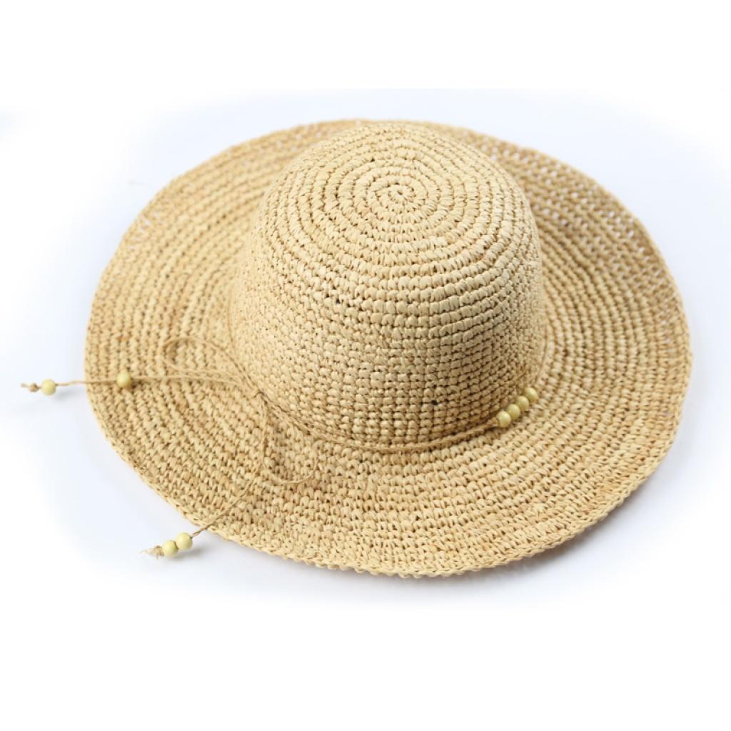 本色拉菲草帽 手工钩针编织珠子大檐帽 假日遮阳帽子a088