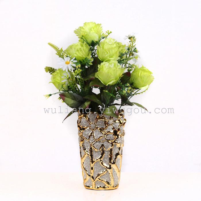 厂家直销高人气热卖欧式装饰花艺仿真玫瑰花12头凤苞图片