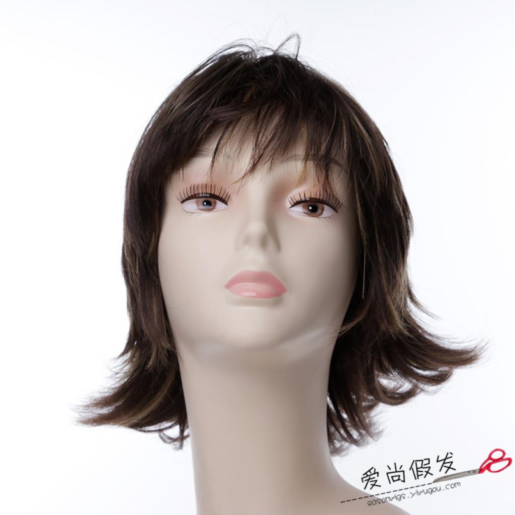爱尚假发 短发卷发头套 外翻翘中老年女士假发
