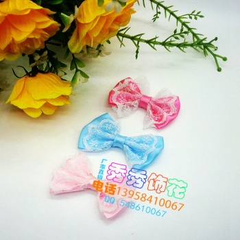 Factory direct sales of diy lace floral border with double layer bow clothing accessories headdress accessories