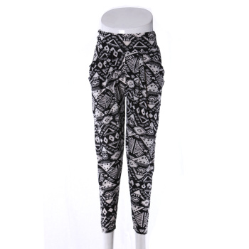 Middle-aged female pants Haren pants cropped silk printing mother pants