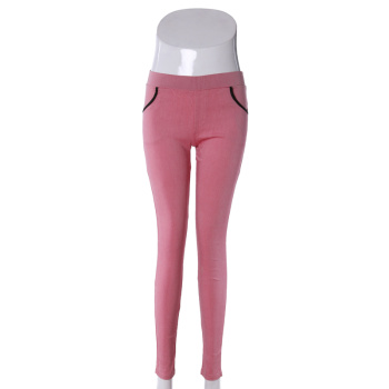 Elastic woven cloth pants pocket four candy color pencil pants Leggings