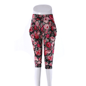 Middle-aged female pants Haren pants silk printing mother cropped pants
