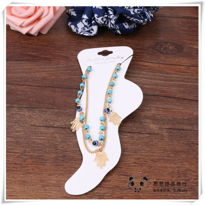 Turquoise jewelry double palm fringed Anklets
