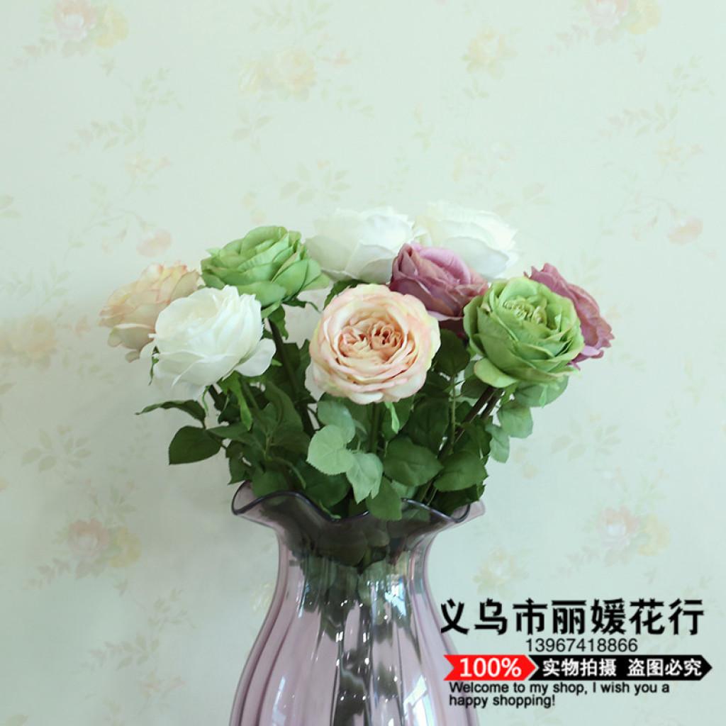 仿真假花玫瑰花装饰花批发单支双心玫瑰摆放
