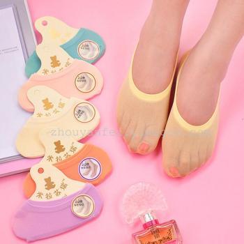 Candy colored velvet socks women's socks with silicon gel socks