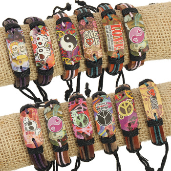 Print a variety of mixed batch cheap leather bracelets wholesale direct Leather Bracelet