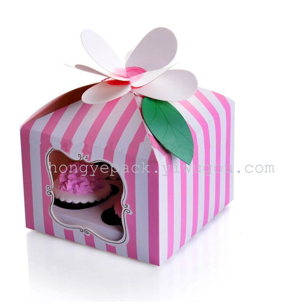 Supply 2016 fashion cupcake box with pvc window and ribbon -