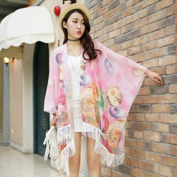 The new sunscreen shawl printed chiffon cardigan fringed scarf tide beach umbrella button