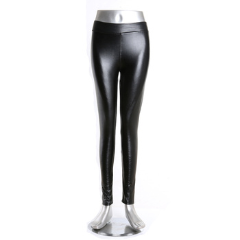 PU leather pants Female leather leggings Figure flattering fashion pants for autumn and winter