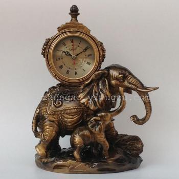 装饰品欧式座钟复古古典金色双象台钟客厅创意摆设件