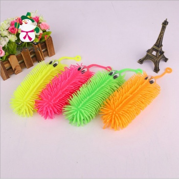 Factory wholesale 18 cm draw eyes flash caterpillar TPR soft fur ball inflatable plastic toys